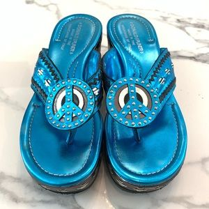 Donald J. Pliner Blue Peace Sign Sandals